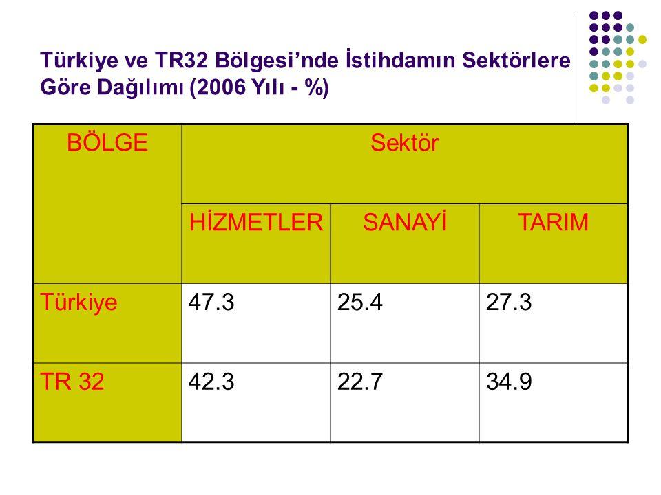 BÖLGE Sektör HİZMETLER SANAYİ TARIM Türkiye 47.3 25.4 27.3 TR 32 42.3
