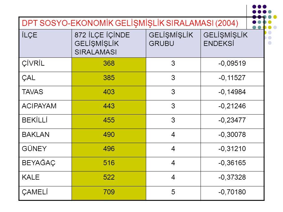 DPT SOSYO-EKONOMİK GELİŞMİŞLİK SIRALAMASI (2004)