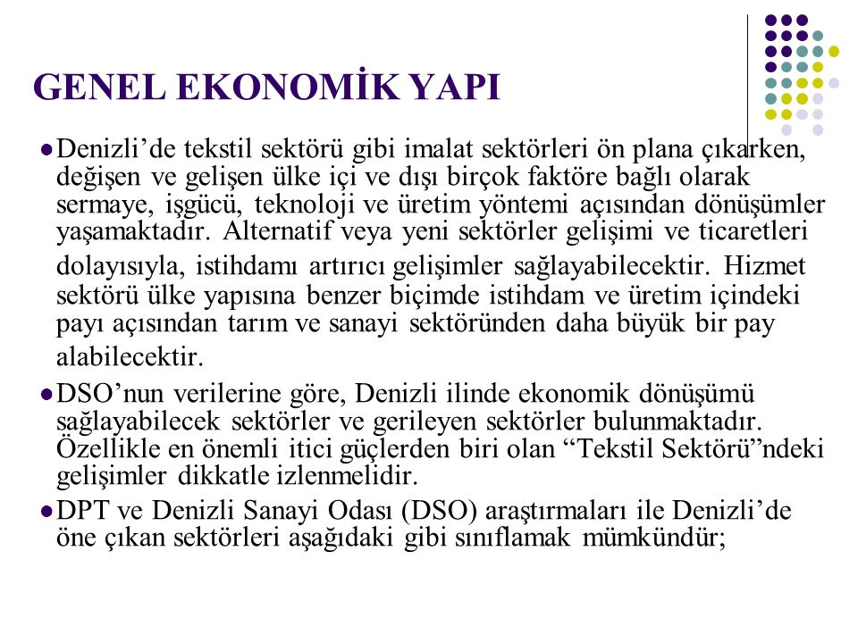 GENEL EKONOMİK YAPI