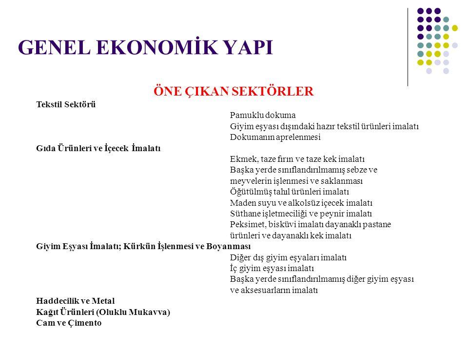 GENEL EKONOMİK YAPI ÖNE ÇIKAN SEKTÖRLER Tekstil Sektörü Pamuklu dokuma