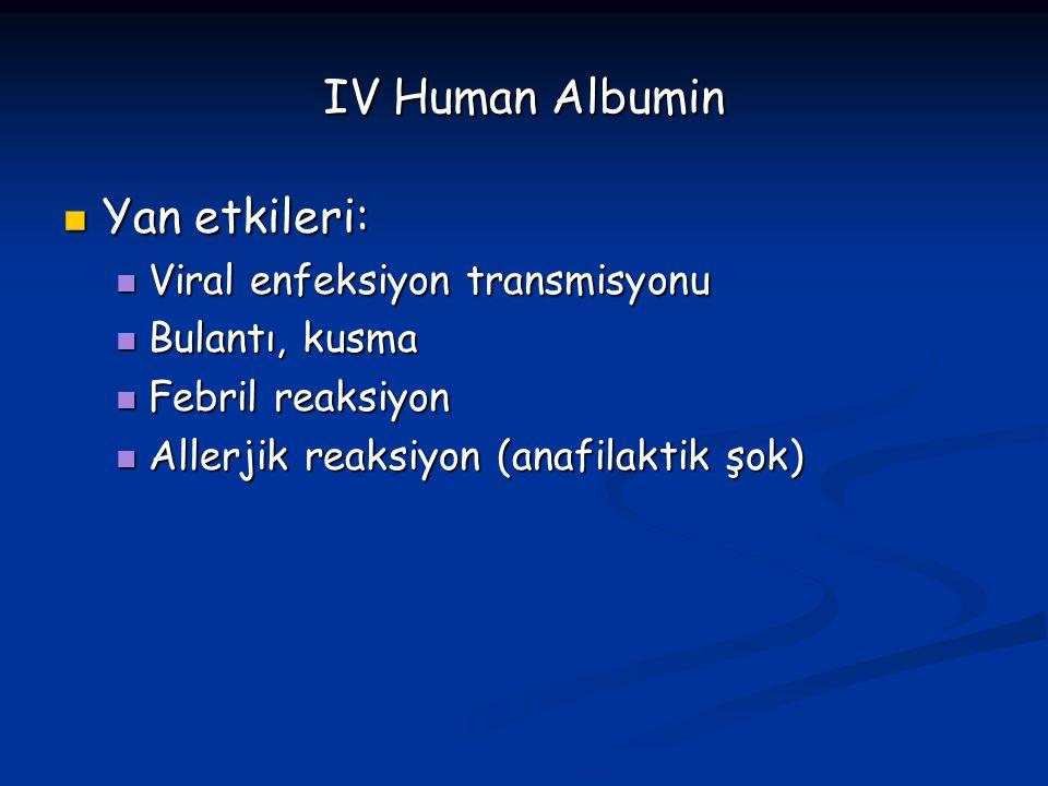 IV Human Albumin Yan etkileri: Viral enfeksiyon transmisyonu