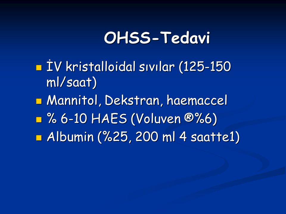 OHSS-Tedavi İV kristalloidal sıvılar (125-150 ml/saat)