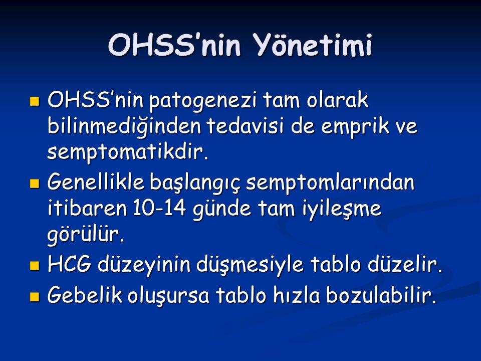 OHSS'nin Yönetimi OHSS'nin patogenezi tam olarak bilinmediğinden tedavisi de emprik ve semptomatikdir.