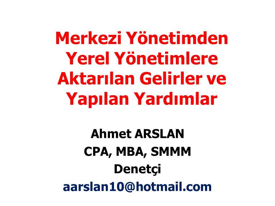 Ahmet ARSLAN CPA, MBA, SMMM Denetçi aarslan10@hotmail.com