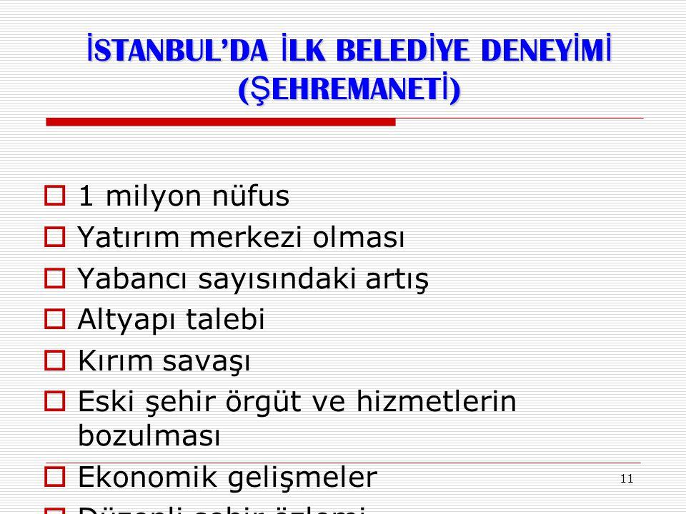 İSTANBUL'DA İLK BELEDİYE DENEYİMİ (ŞEHREMANETİ)