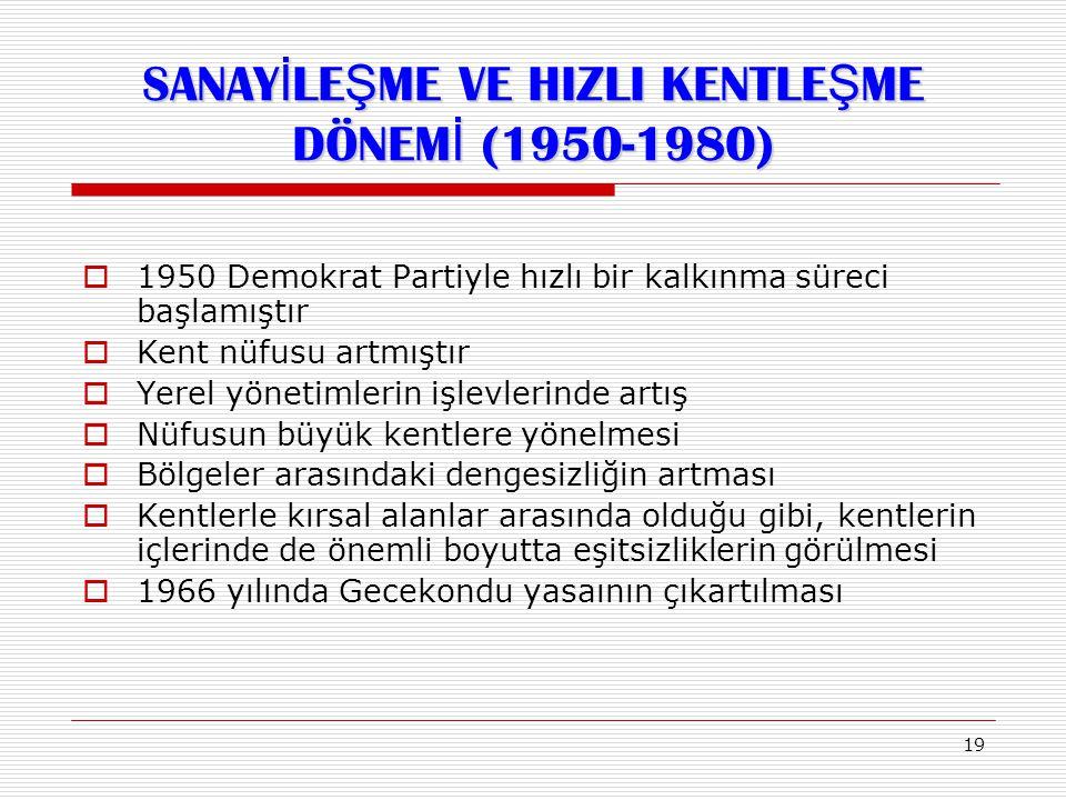 SANAYİLEŞME VE HIZLI KENTLEŞME DÖNEMİ (1950-1980)