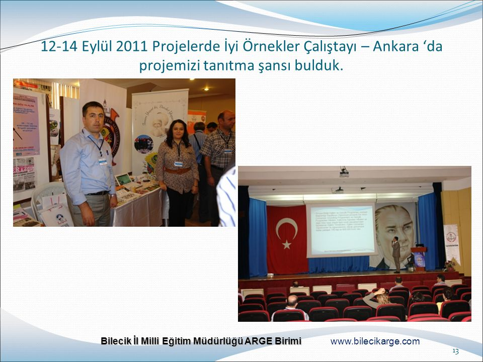 12-14 Eylül 2011 Projelerde İyi Örnekler Çalıştayı – Ankara 'da projemizi tanıtma şansı bulduk.