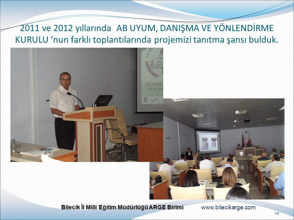 2011 ve 2012 yıllarında AB UYUM, DANIŞMA VE YÖNLENDİRME KURULU 'nun farklı toplantılarında projemizi tanıtma şansı bulduk.