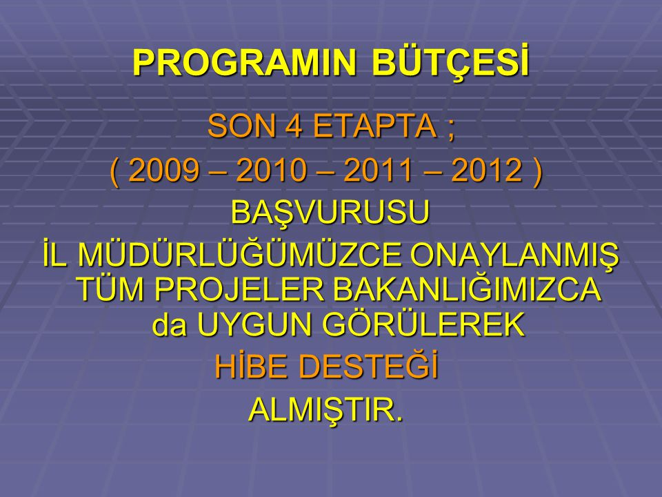 PROGRAMIN BÜTÇESİ SON 4 ETAPTA ; ( 2009 – 2010 – 2011 – 2012 )