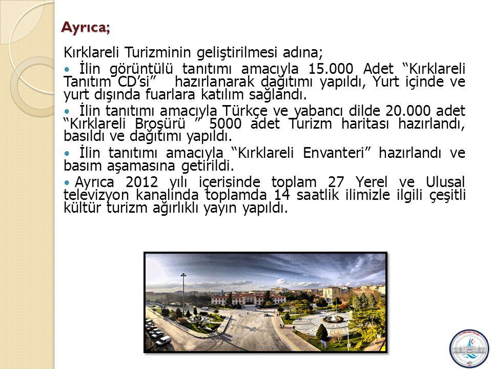 Ayrıca; Kırklareli Turizminin geliştirilmesi adına;