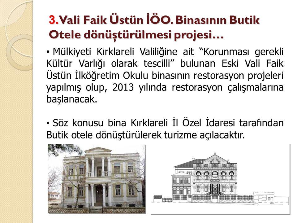 3. Vali Faik Üstün İÖO. Binasının Butik Otele dönüştürülmesi projesi…