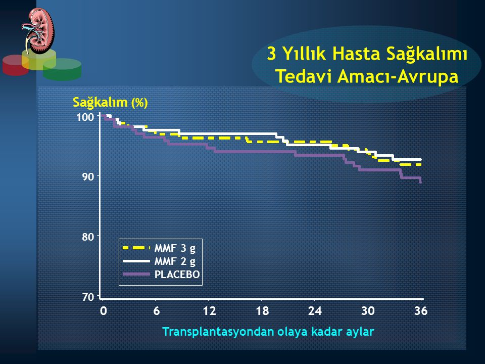 3 Yıllık Hasta Sağkalımı Transplantasyondan olaya kadar aylar