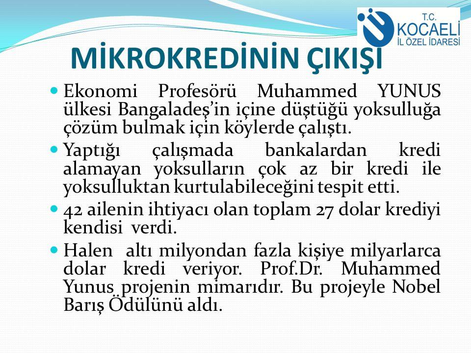 MİKROKREDİNİN ÇIKIŞI Ekonomi Profesörü Muhammed YUNUS ülkesi Bangaladeş'in içine düştüğü yoksulluğa çözüm bulmak için köylerde çalıştı.
