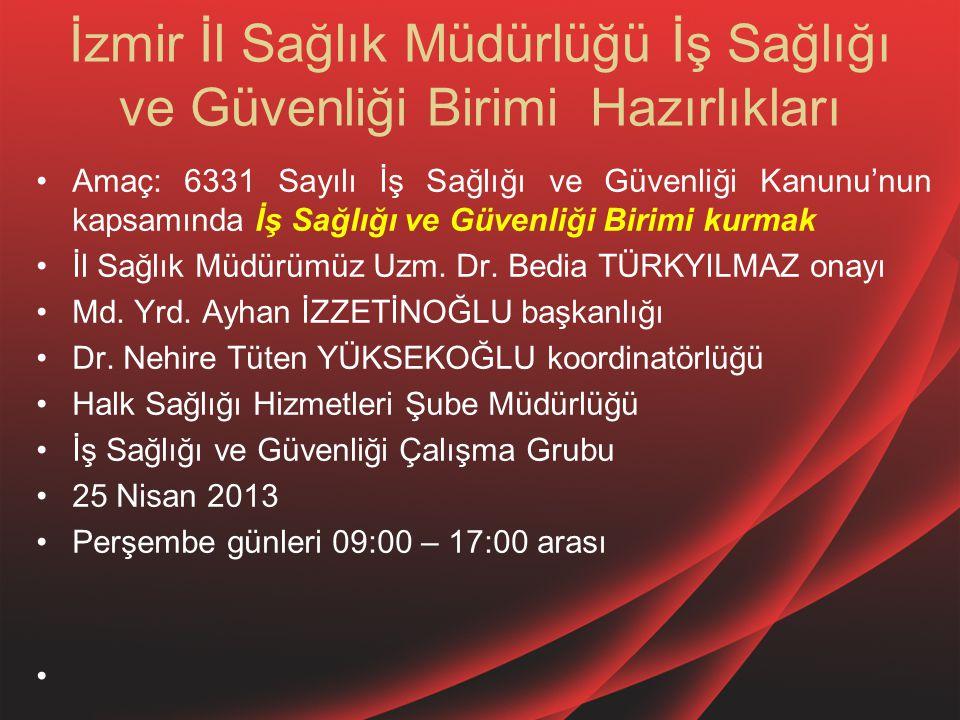 İzmir İl Sağlık Müdürlüğü İş Sağlığı ve Güvenliği Birimi Hazırlıkları