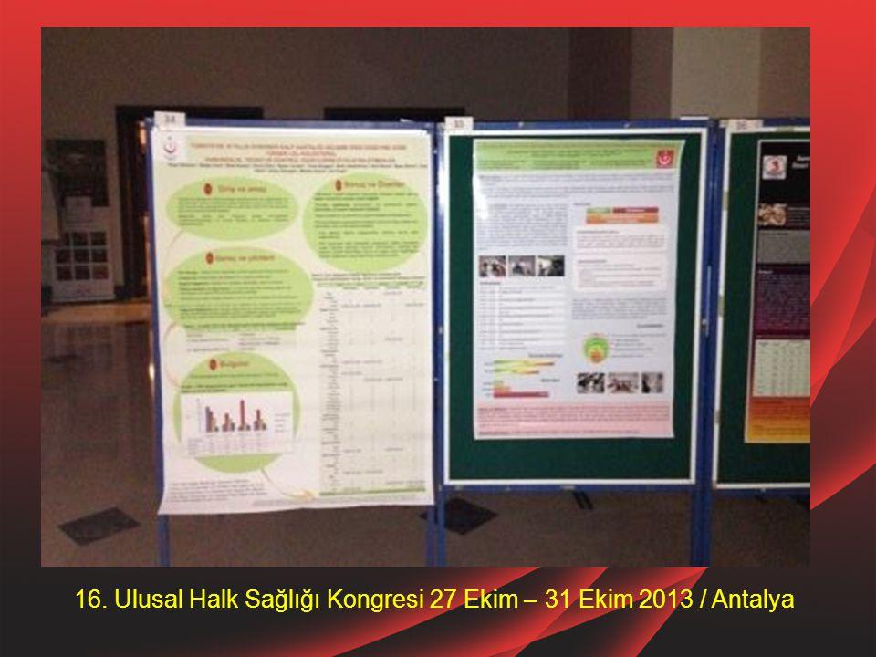 16. Ulusal Halk Sağlığı Kongresi 27 Ekim – 31 Ekim 2013 / Antalya