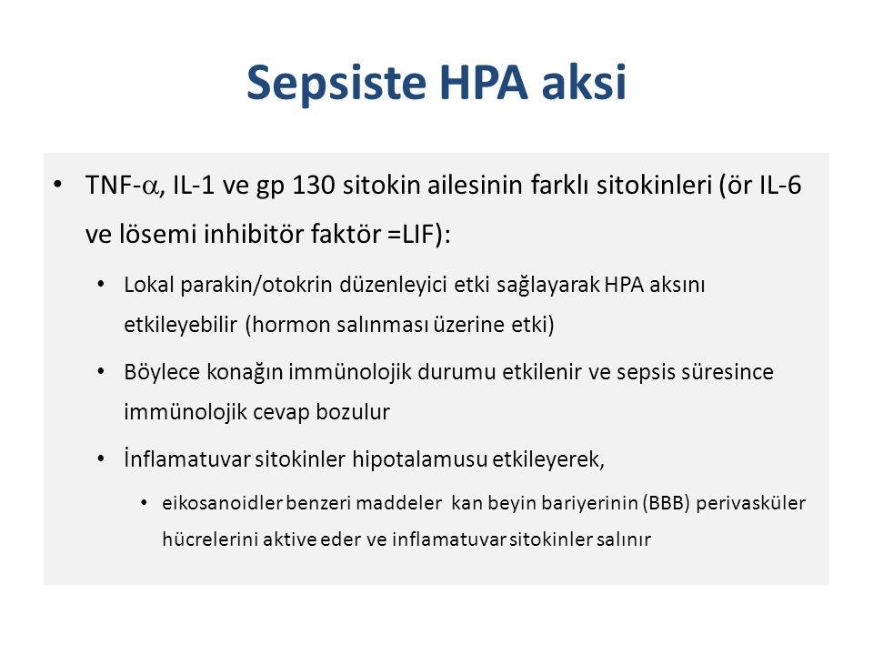 Sepsiste HPA aksi TNF-, IL-1 ve gp 130 sitokin ailesinin farklı sitokinleri (ör IL-6 ve lösemi inhibitör faktör =LIF):