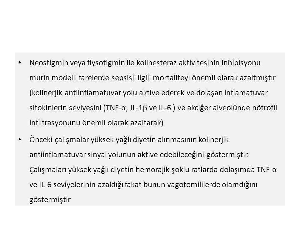 Neostigmin veya fiysotigmin ile kolinesteraz aktivitesinin inhibisyonu murin modelli farelerde sepsisli ilgili mortaliteyi önemli olarak azaltmıştır (kolinerjik antiinflamatuvar yolu aktive ederek ve dolaşan inflamatuvar sitokinlerin seviyesini (TNF-α, IL-1β ve IL-6 ) ve akciğer alveolünde nötrofil infiltrasyonunu önemli olarak azaltarak)
