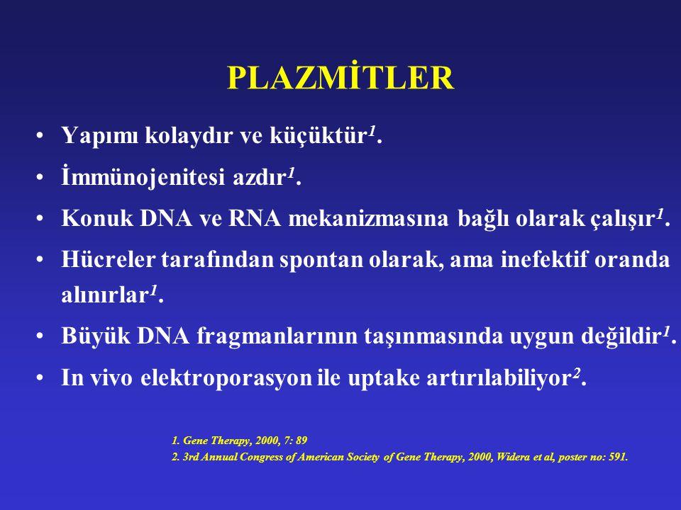PLAZMİTLER Yapımı kolaydır ve küçüktür1. İmmünojenitesi azdır1.
