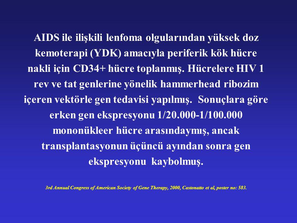 AIDS ile ilişkili lenfoma olgularından yüksek doz kemoterapi (YDK) amacıyla periferik kök hücre nakli için CD34+ hücre toplanmış.