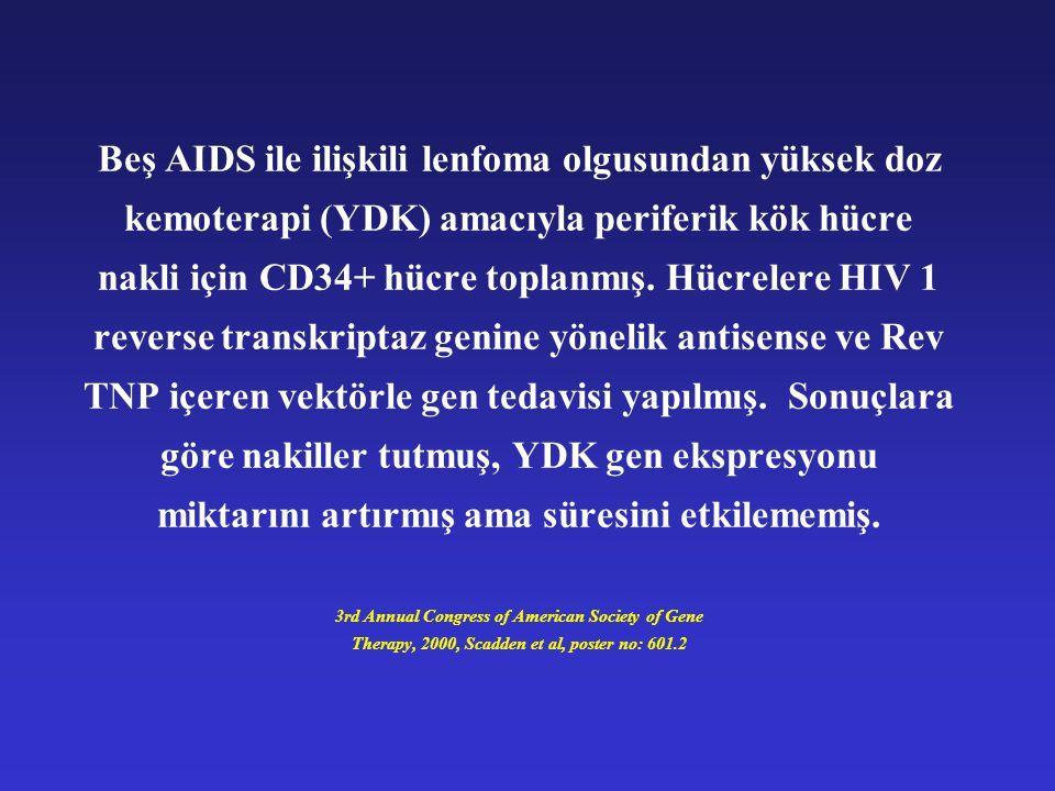 Beş AIDS ile ilişkili lenfoma olgusundan yüksek doz kemoterapi (YDK) amacıyla periferik kök hücre nakli için CD34+ hücre toplanmış.