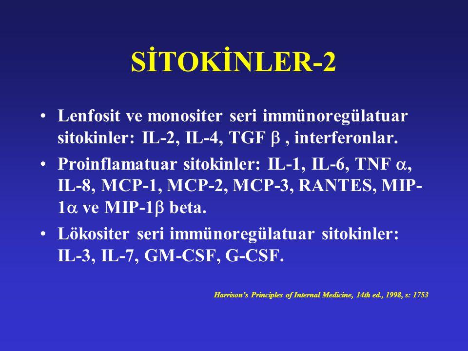 SİTOKİNLER-2 Lenfosit ve monositer seri immünoregülatuar sitokinler: IL-2, IL-4, TGF  , interferonlar.