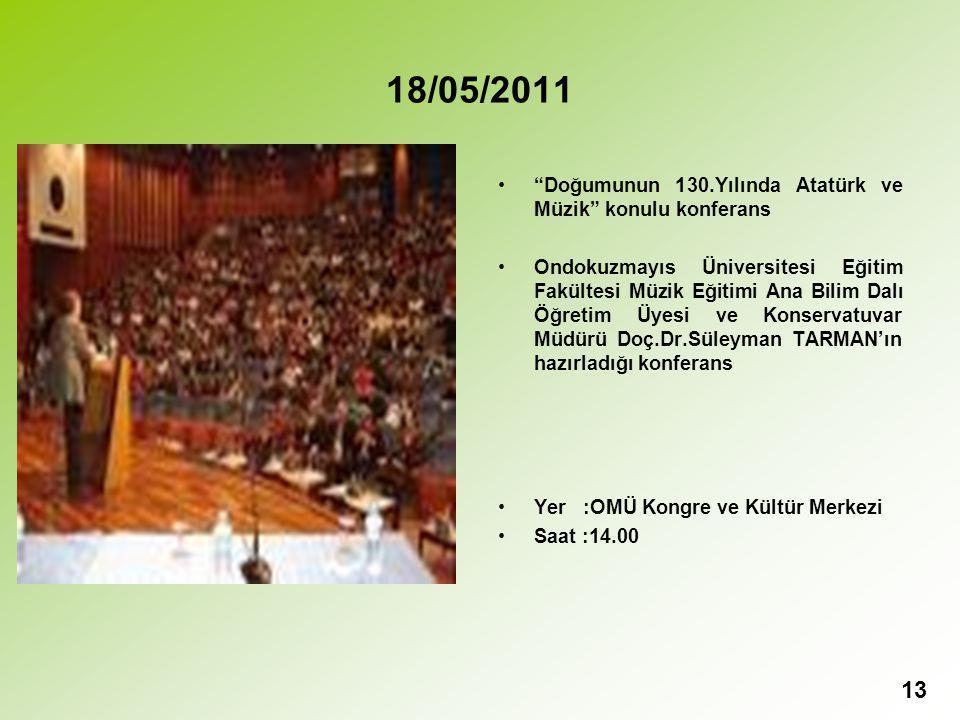 18/05/2011 Doğumunun 130.Yılında Atatürk ve Müzik konulu konferans