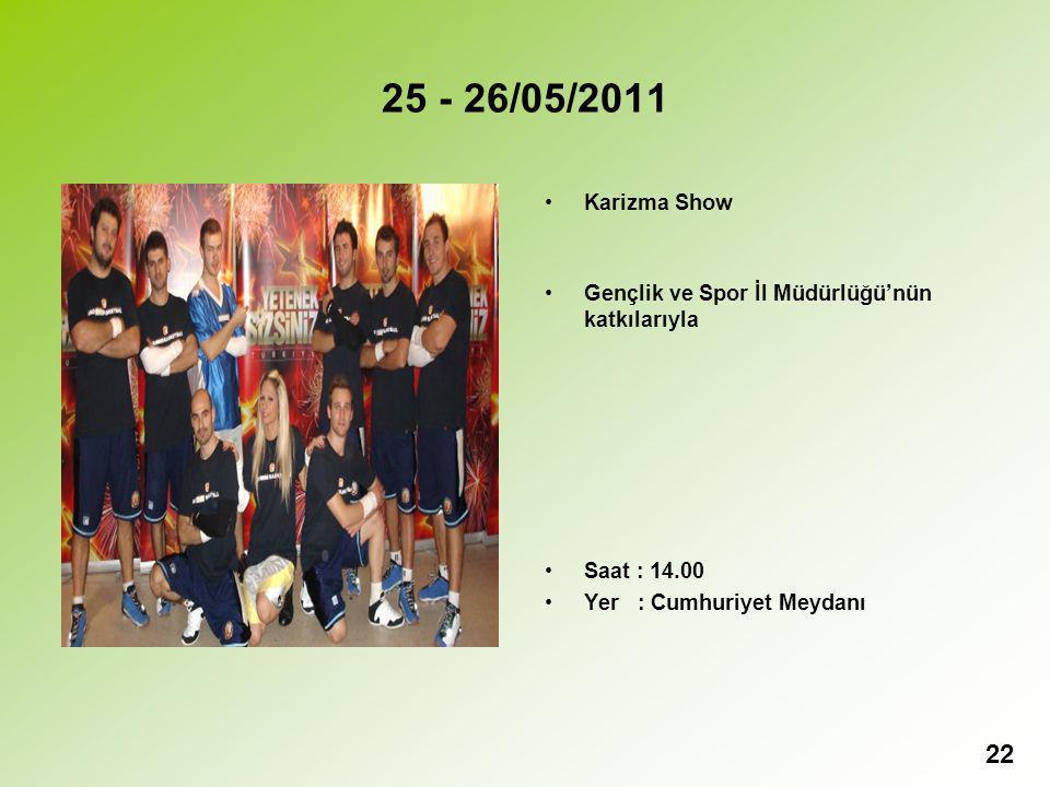 25 - 26/05/2011 Karizma Show. Gençlik ve Spor İl Müdürlüğü'nün katkılarıyla.