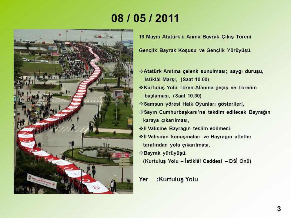08 / 05 / 2011 19 Mayıs Atatürk'ü Anma Bayrak Çıkış Töreni. Gençlik Bayrak Koşusu ve Gençlik Yürüyüşü.