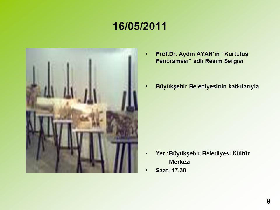 16/05/2011 Prof.Dr. Aydın AYAN'ın Kurtuluş Panoraması adlı Resim Sergisi. Büyükşehir Belediyesinin katkılarıyla.