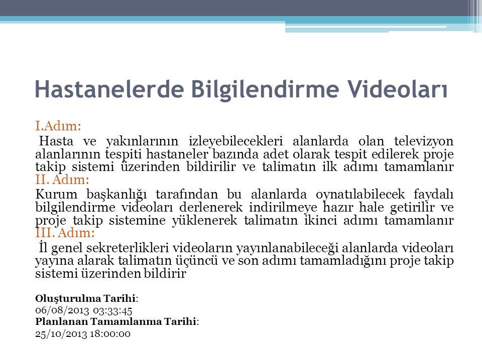 Hastanelerde Bilgilendirme Videoları