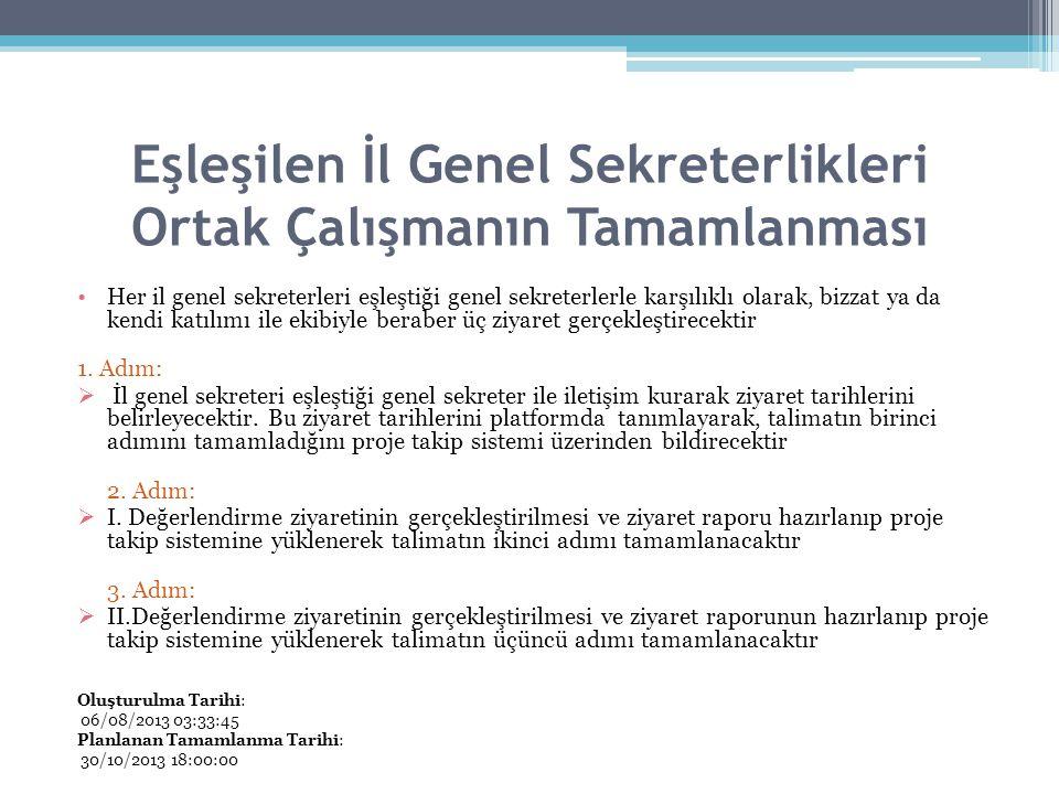 Eşleşilen İl Genel Sekreterlikleri Ortak Çalışmanın Tamamlanması