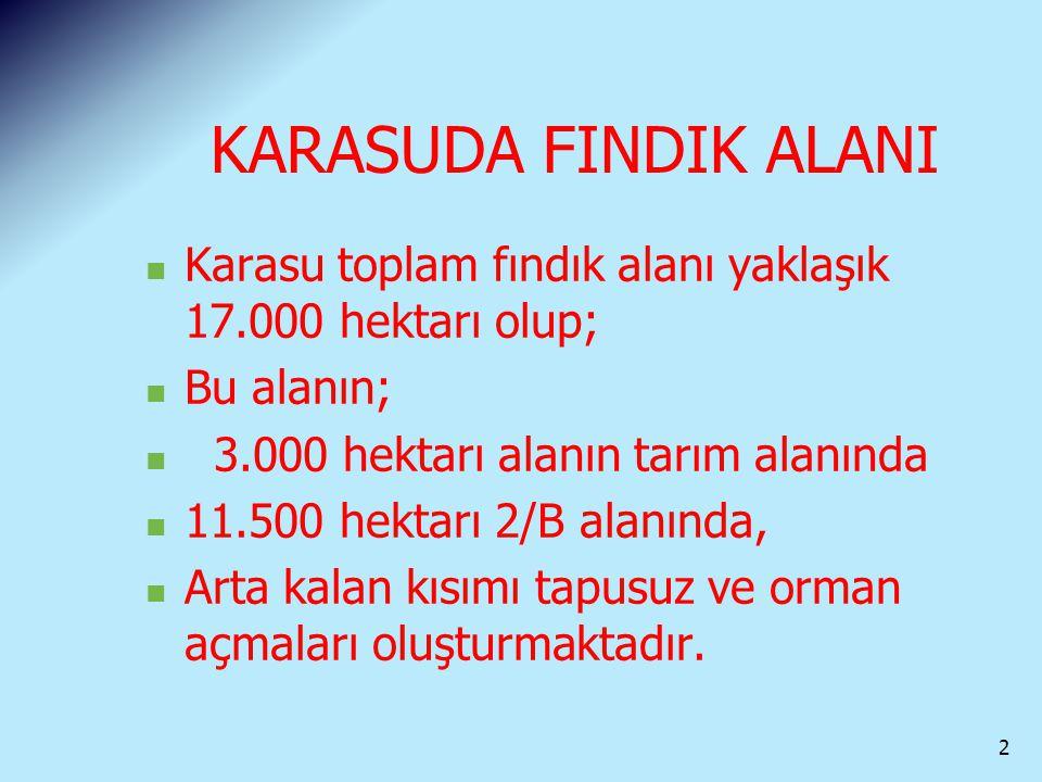 KARASUDA FINDIK ALANI Karasu toplam fındık alanı yaklaşık 17.000 hektarı olup; Bu alanın; 3.000 hektarı alanın tarım alanında.