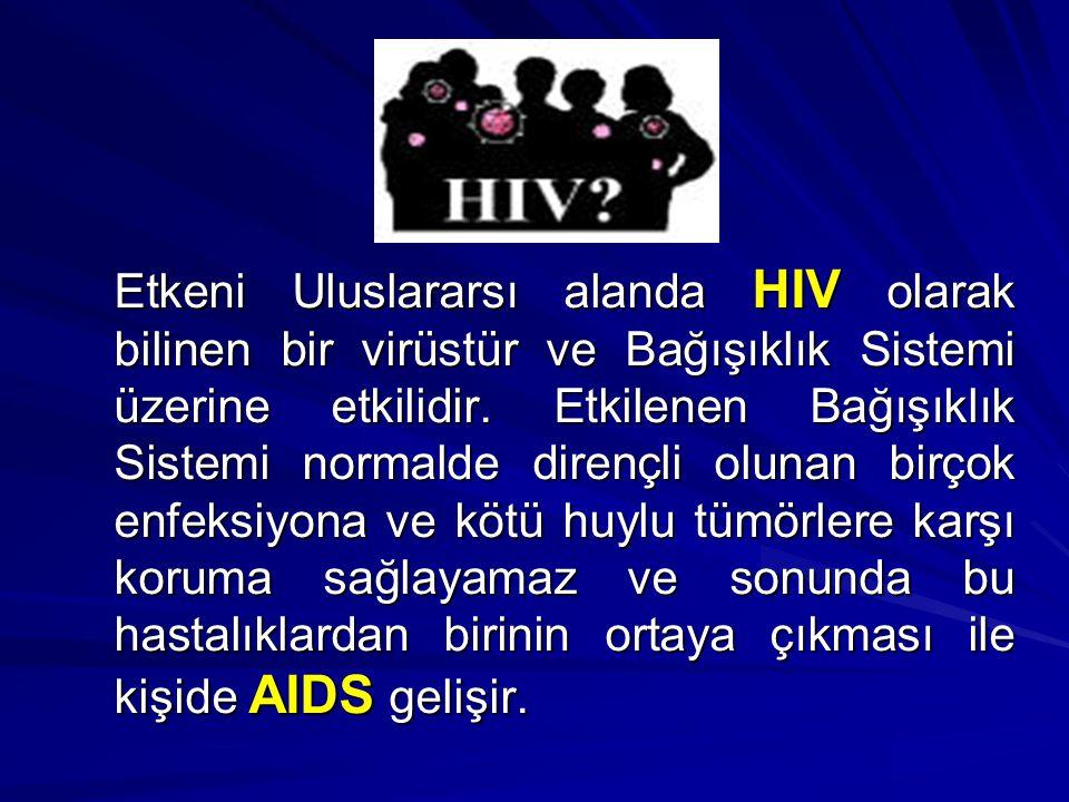 Etkeni Uluslararsı alanda HIV olarak bilinen bir virüstür ve Bağışıklık Sistemi üzerine etkilidir.