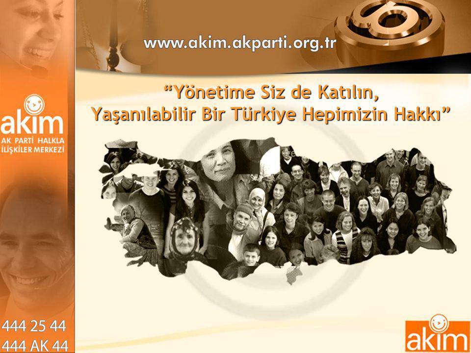Yönetime Siz de Katılın, Yaşanılabilir Bir Türkiye Hepimizin Hakkı