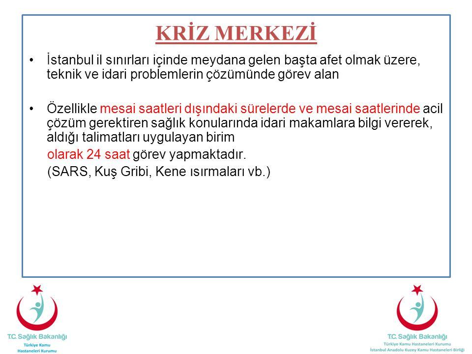 KRİZ MERKEZİ İstanbul il sınırları içinde meydana gelen başta afet olmak üzere, teknik ve idari problemlerin çözümünde görev alan.