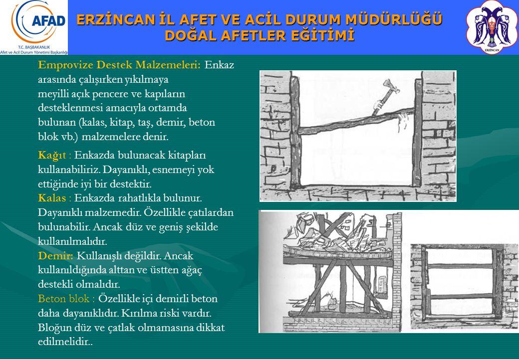 Emprovize Destek Malzemeleri: Enkaz arasında çalışırken yıkılmaya meyilli açık pencere ve kapıların desteklenmesi amacıyla ortamda bulunan (kalas, kitap, taş, demir, beton blok vb.) malzemelere denir.