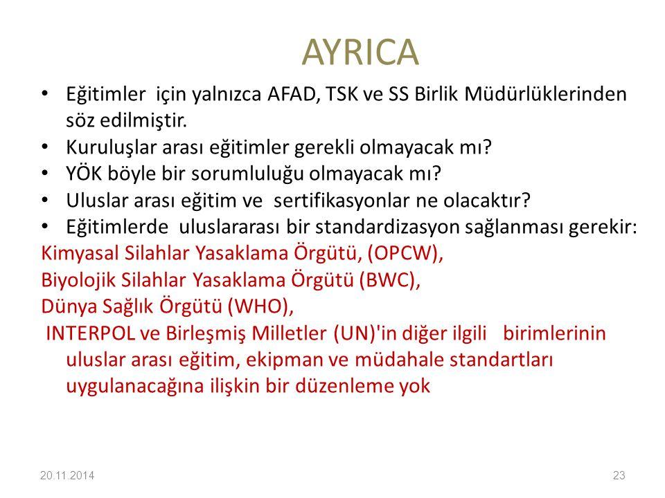 AYRICA Eğitimler için yalnızca AFAD, TSK ve SS Birlik Müdürlüklerinden söz edilmiştir. Kuruluşlar arası eğitimler gerekli olmayacak mı