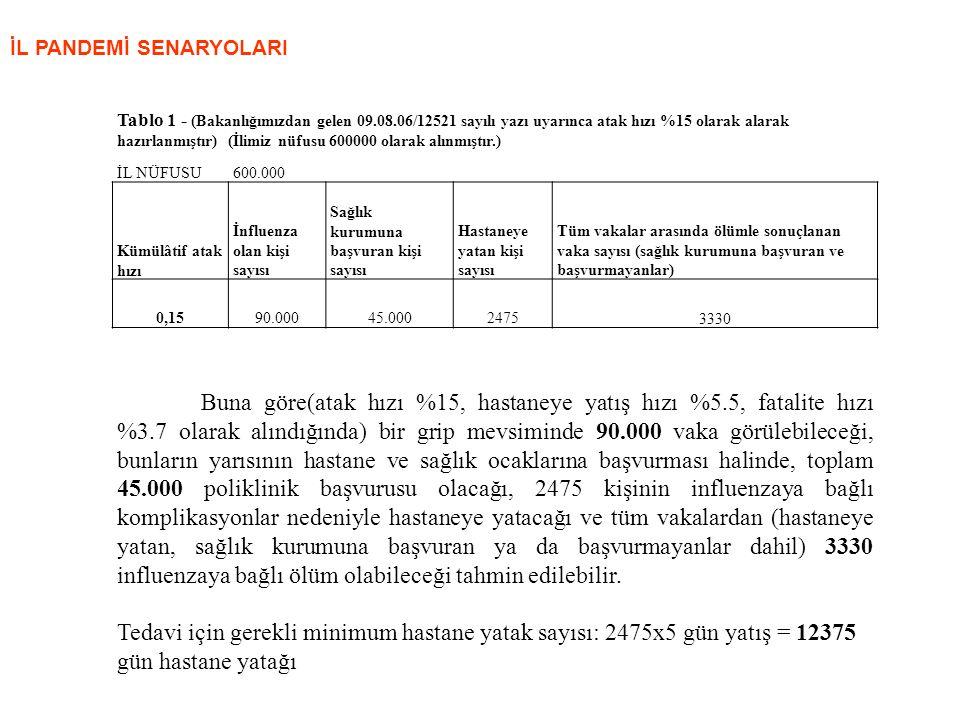 İL PANDEMİ SENARYOLARI