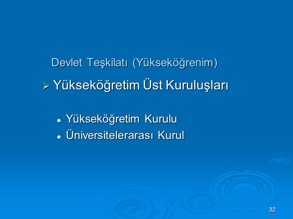 Devlet Teşkilatı (Yükseköğrenim)