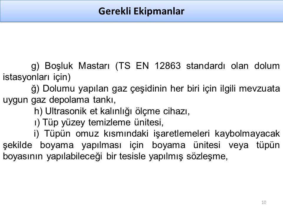 g) Boşluk Mastarı (TS EN 12863 standardı olan dolum istasyonları için)