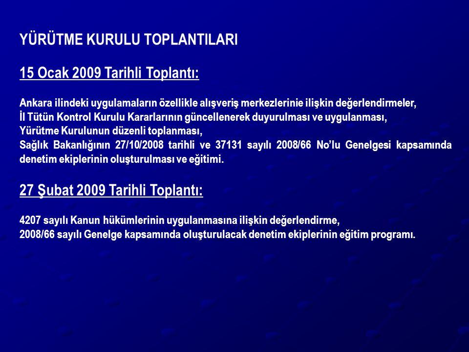 YÜRÜTME KURULU TOPLANTILARI 15 Ocak 2009 Tarihli Toplantı: