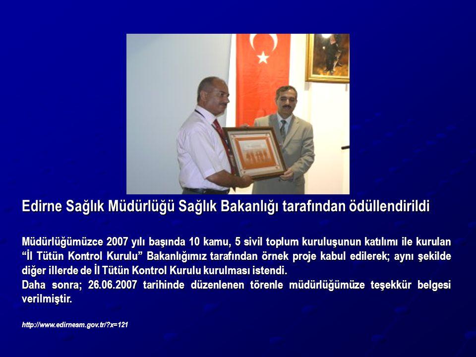 Edirne Sağlık Müdürlüğü Sağlık Bakanlığı tarafından ödüllendirildi