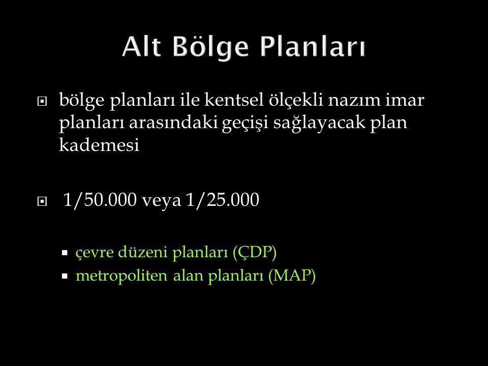 Alt Bölge Planları bölge planları ile kentsel ölçekli nazım imar planları arasındaki geçişi sağlayacak plan kademesi.