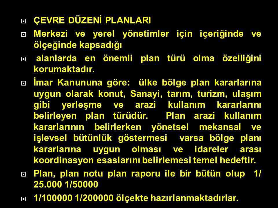 ÇEVRE DÜZENİ PLANLARI Merkezi ve yerel yönetimler için içeriğinde ve ölçeğinde kapsadığı.