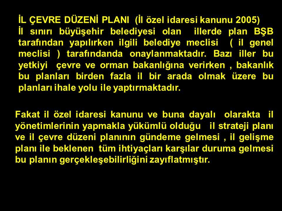 İL ÇEVRE DÜZENİ PLANI (İl özel idaresi kanunu 2005)