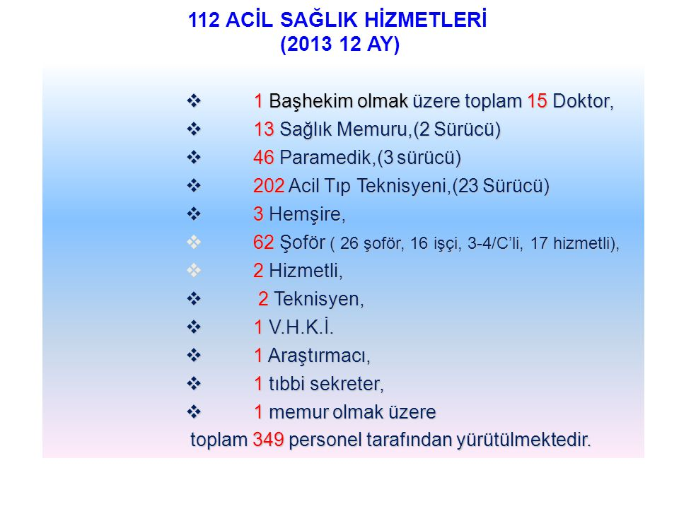 112 ACİL SAĞLIK HİZMETLERİ (2013 12 AY)