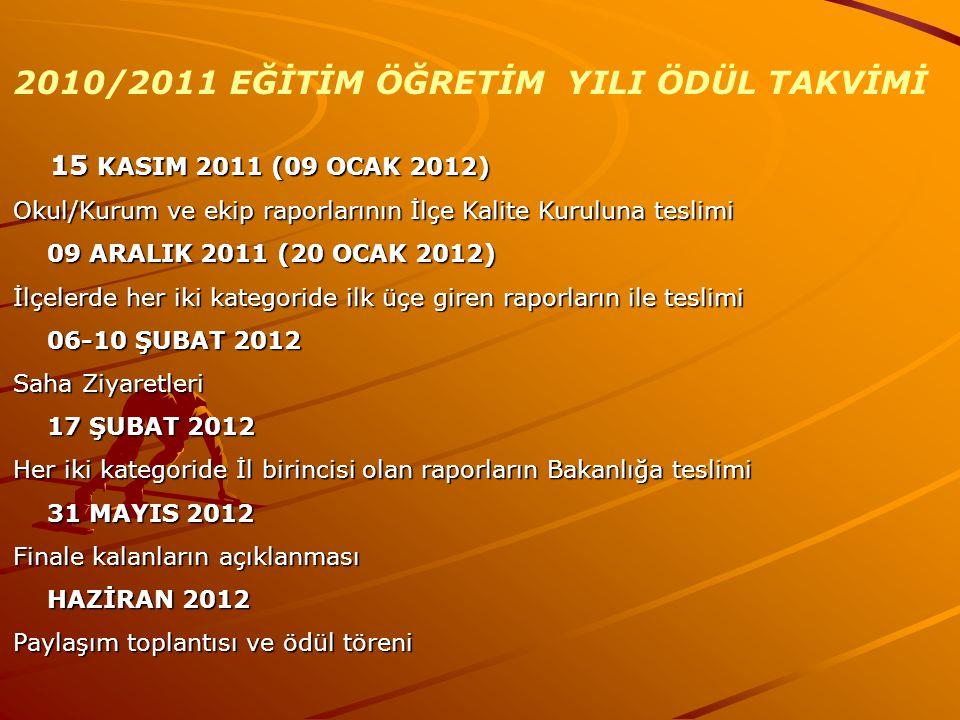2010/2011 EĞİTİM ÖĞRETİM YILI ÖDÜL TAKVİMİ