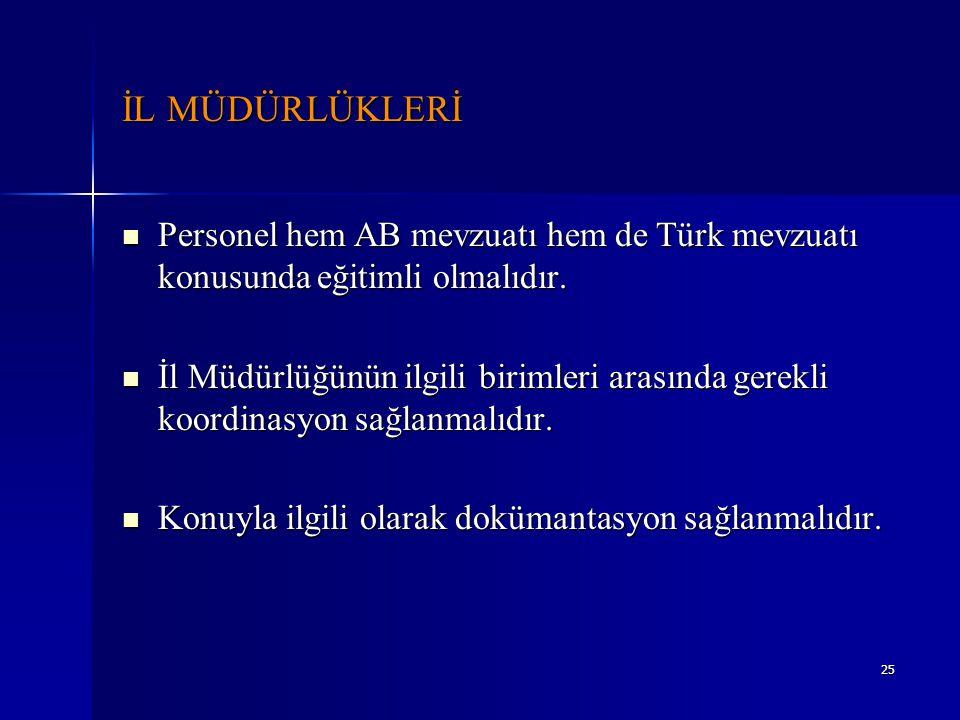 İL MÜDÜRLÜKLERİ Personel hem AB mevzuatı hem de Türk mevzuatı konusunda eğitimli olmalıdır.
