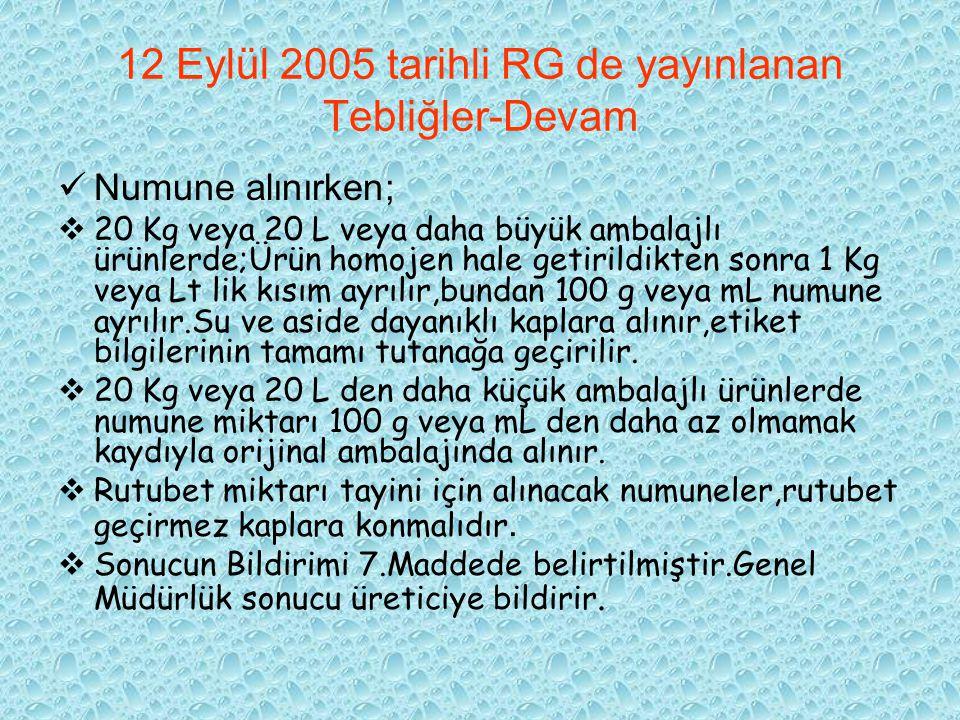 12 Eylül 2005 tarihli RG de yayınlanan Tebliğler-Devam