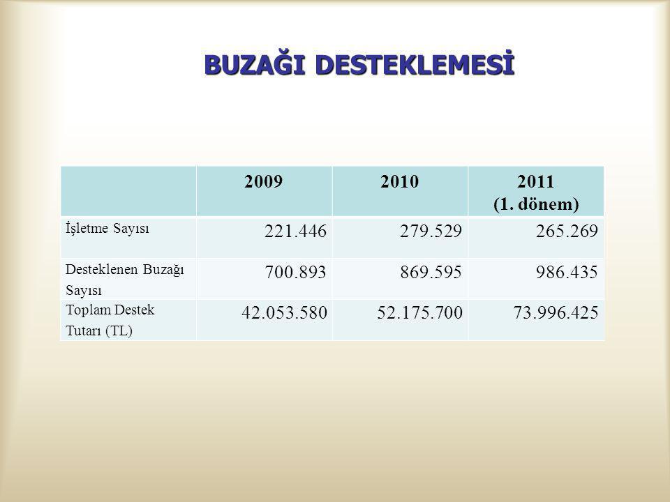 BUZAĞI DESTEKLEMESİ 2009 2010 2011 (1. dönem) 221.446 279.529 265.269